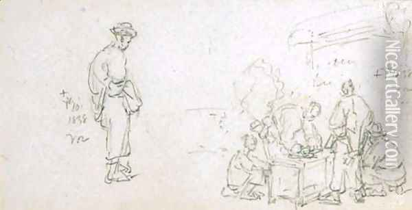 A study of Chinese figures Oil Painting - George Chinnery