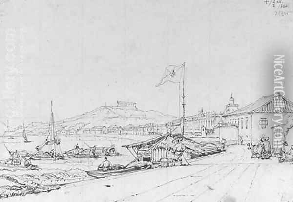 The Praya Grande, Macao with a fisherman's hut beneath the flagpole, from the north-east Oil Painting - George Chinnery
