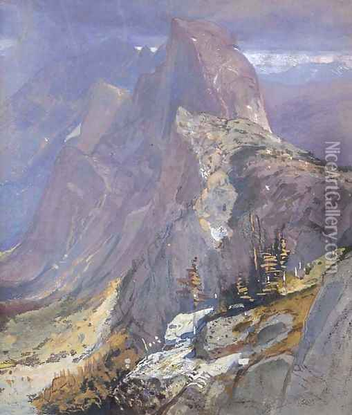 The Half-Dome from Glacier Point, Yosemite Oil Painting - Samuel Colman