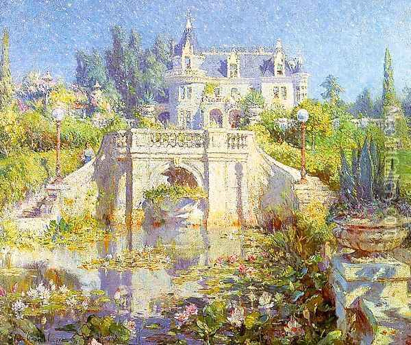 A California Water Garden at Redlands Oil Painting - Colin Campbell Cooper
