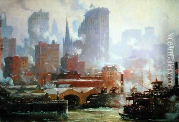 Wall Street Ferry Ship Oil Painting - Colin Campbell Cooper