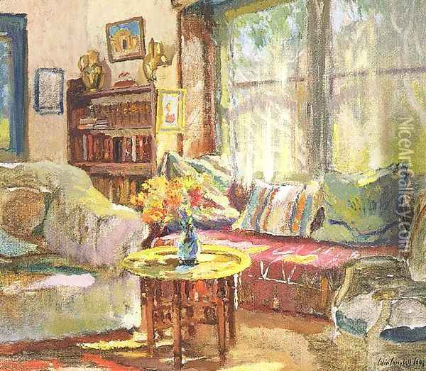 Cottage Interior Oil Painting - Colin Campbell Cooper