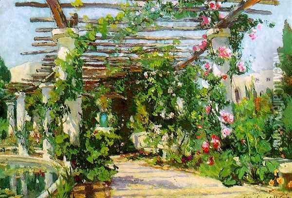 Summer Verandah, 1922 Oil Painting - Colin Campbell Cooper