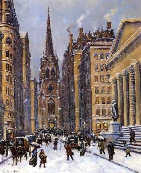Wall Street Facing Trinity Church Oil Painting - Colin Campbell Cooper