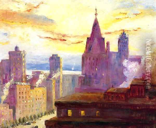 Rooftops at Sunset Oil Painting - Colin Campbell Cooper