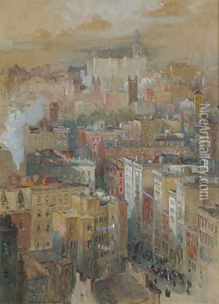 View of New York City Oil Painting - Colin Campbell Cooper