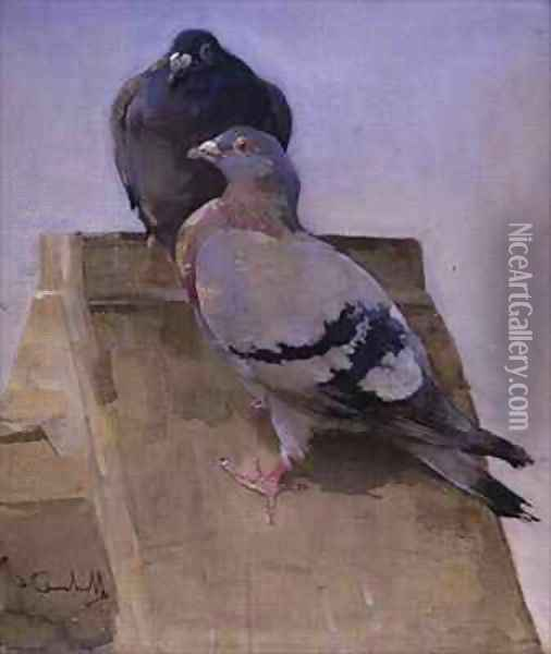 Pigeons on the Roof Oil Painting - Joseph Crawhall