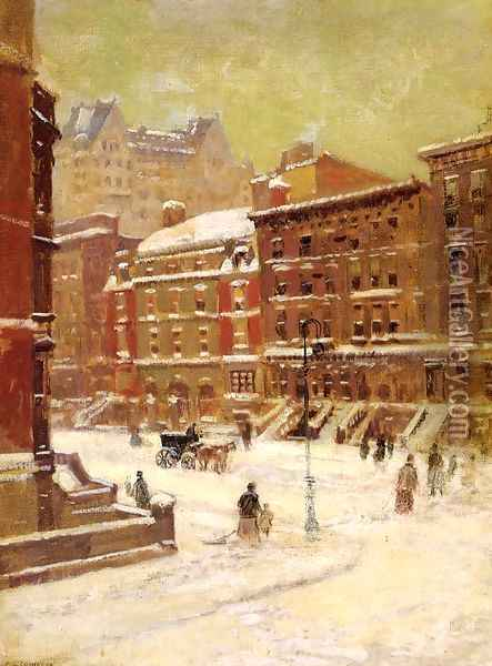 New York City View in Winter Oil Painting - Paul Cornoyer