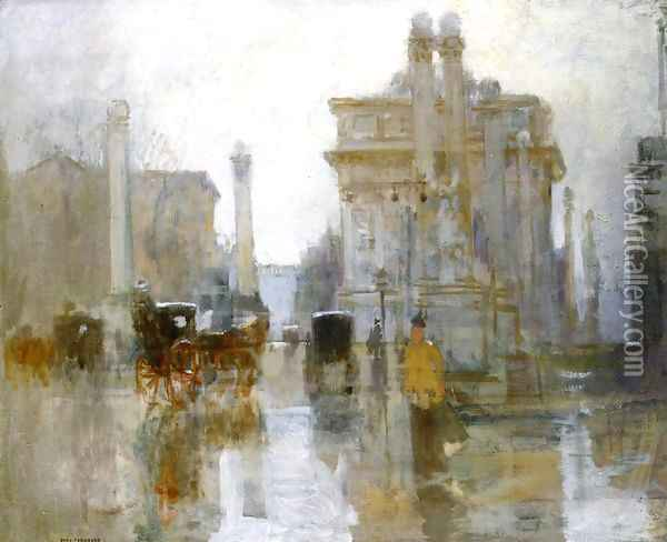 After the Rain, the Dewey Arch, Madison Square Park Oil Painting - Paul Cornoyer