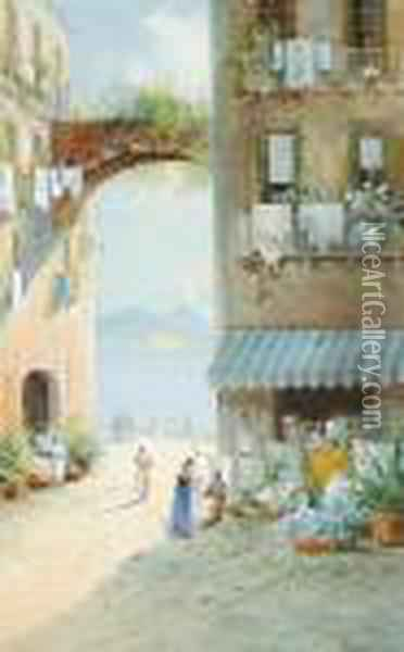 Views From A Town Square, The Bay Of Naples Beyond, A Pair Oil Painting - Girolamo Gianni