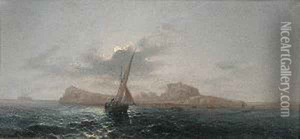 The Bay Of Naples By Moonlight; Capri By Moonlight, A Pair Oil Painting - Girolamo Gianni