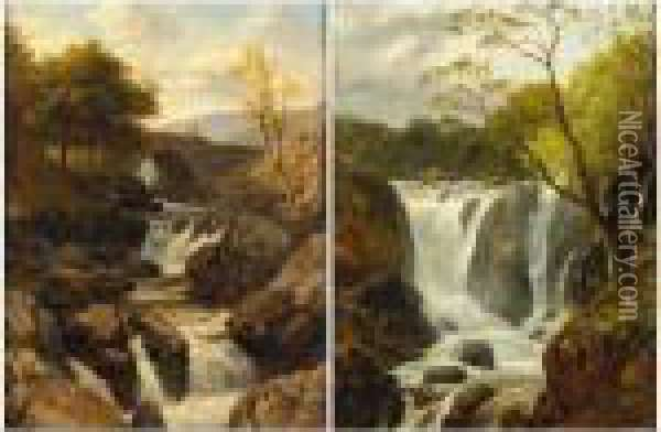 Welsh Waterfall Scenes Oil Painting - Edmund Gill