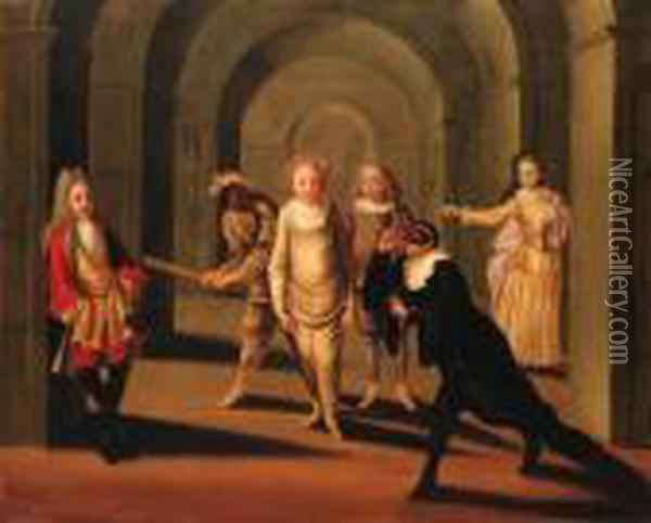 Actors From The Commedia Dell'arte In An Arcade Oil Painting - Claude Gillot