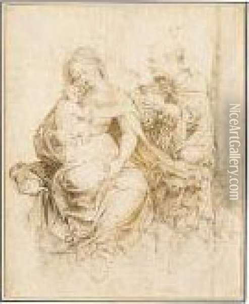The Holy Family. Oil Painting - Jan Mabuse