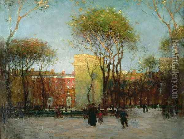 Washington Square, New York, c.1900 Oil Painting - Paul Cornoyer