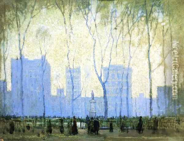 Bryant Park Oil Painting - Paul Cornoyer