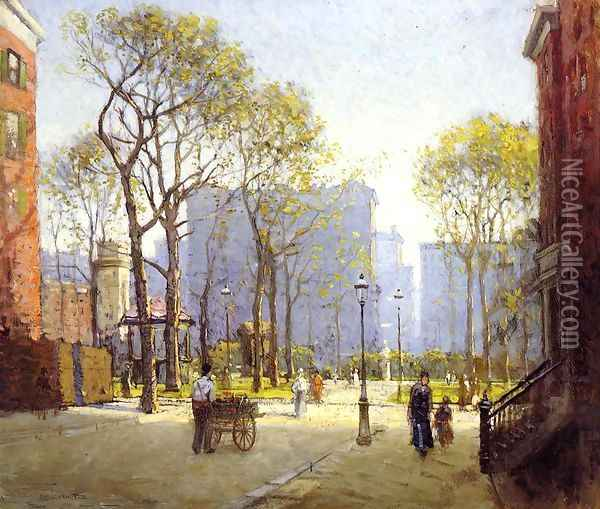 Late Afternoon, Washington Square Oil Painting - Paul Cornoyer