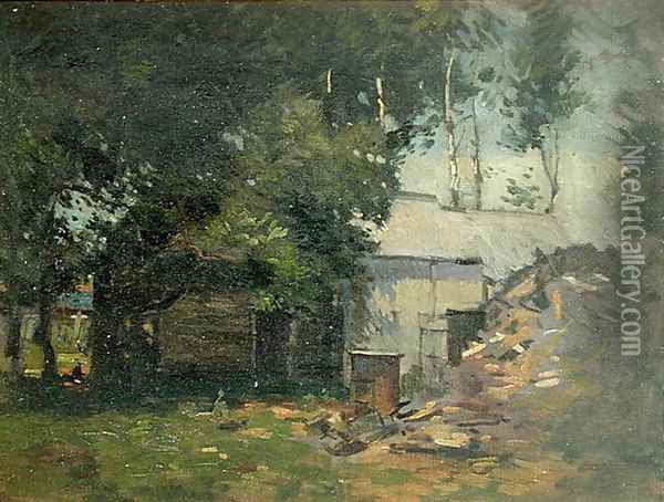 Barnyard Scene Oil Painting - Paul Cornoyer