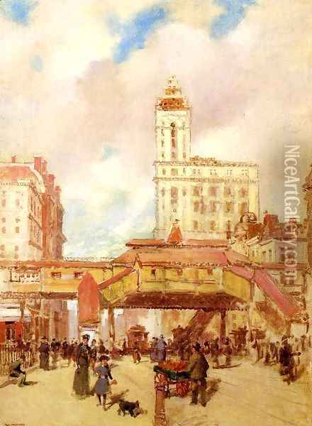The Third Avenue El Oil Painting - Paul Cornoyer