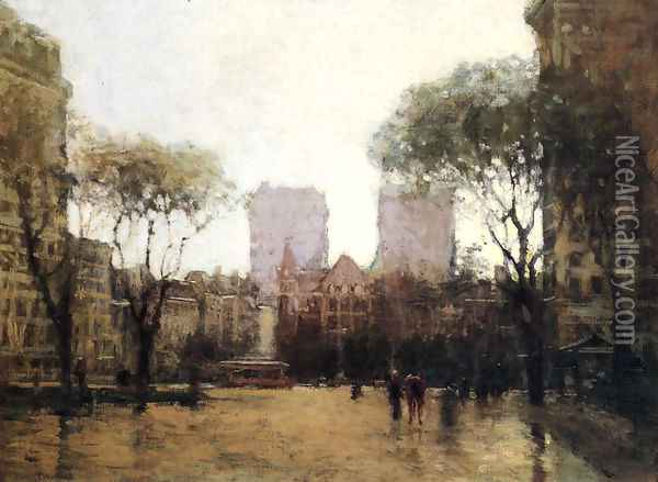 The Plaza at 59th Street Oil Painting - Paul Cornoyer