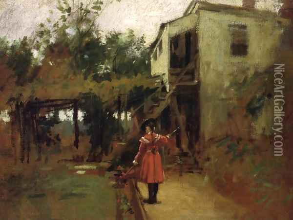 Studio Garden, East Gloucester Oil Painting - Paul Cornoyer