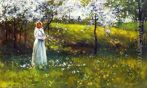 Woman with Apple Blossoms Oil Painting - Paul Cornoyer