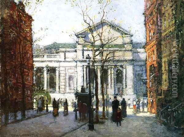 The New York Library Oil Painting - Paul Cornoyer