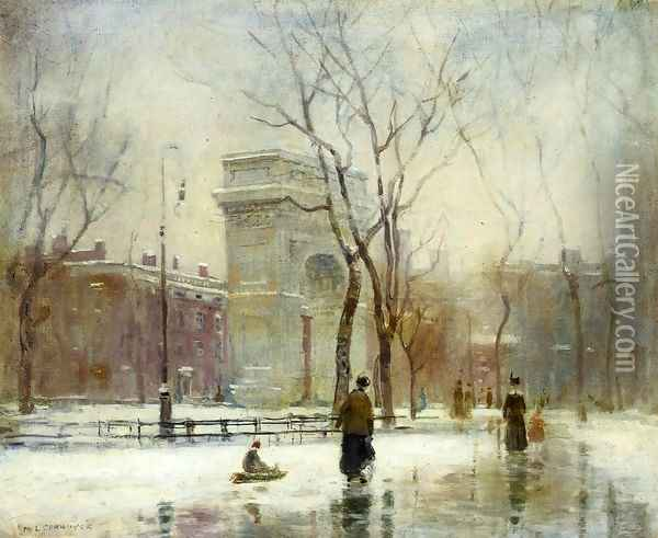 Winter in Washington Square Oil Painting - Paul Cornoyer