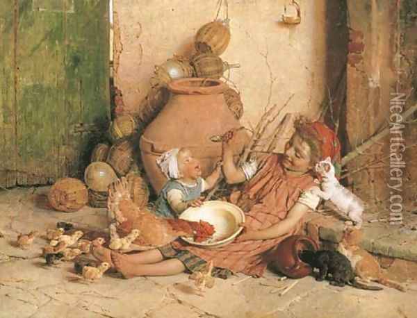 Feeding Time Oil Painting - Gaetano Chierici