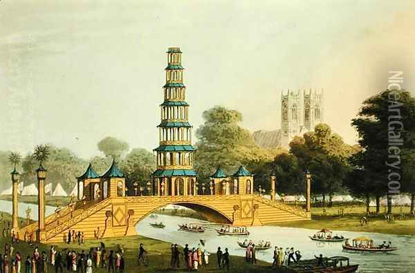 The Chinese Bridge and Pagoda, Erected in the Park in commemoration of the Glorious Peace of 1814 Oil Painting - John Heaviside Clark