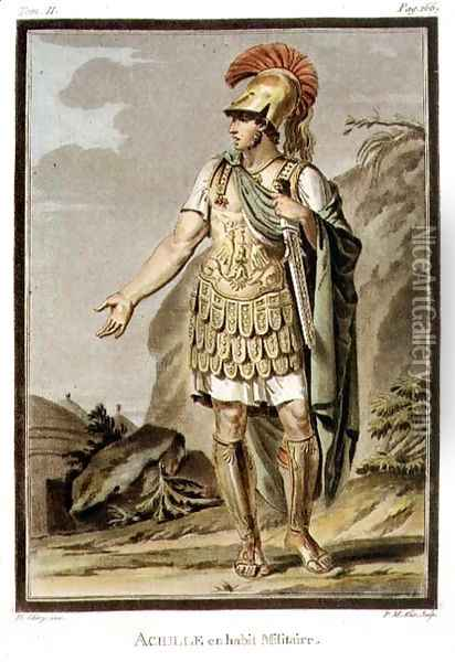 Achilles in Armour, costume for 'Iphigenia in Aulis', from Volume II of 'Research on the Costumes and Theatre of All Nations' Oil Painting - Philippe Chery