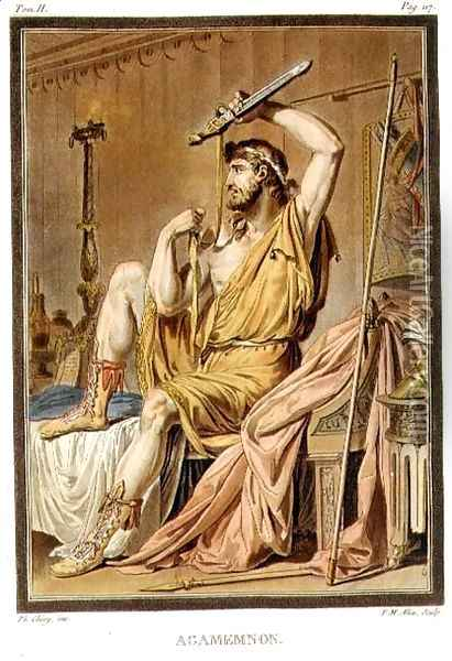 Agamemnon, costume for 'Iphigenia in Aulis', 'Research on the Costumes and Theatre of All Nations', 1802 Oil Painting - Philippe Chery