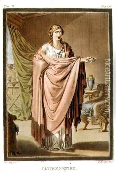 Clytemnestra, costume for 'Iphigenia in Aulis', from Volume II of 'Research on the Costumes and Theatre of All Nations' Oil Painting - Philippe Chery