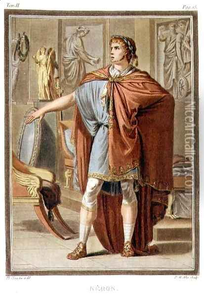 Nero, costume for 'Britannicus' by Jean Racine, from Volume II of 'Research on the Costumes and Theatre of All Nations' Oil Painting - Philippe Chery