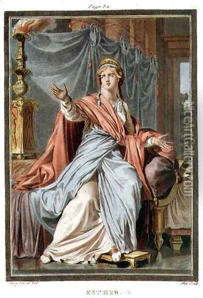 Esther, costume for 'Esther', from Volume I of 'Research on the Costumes and Theatre of All Nations', Oil Painting - Philippe Chery