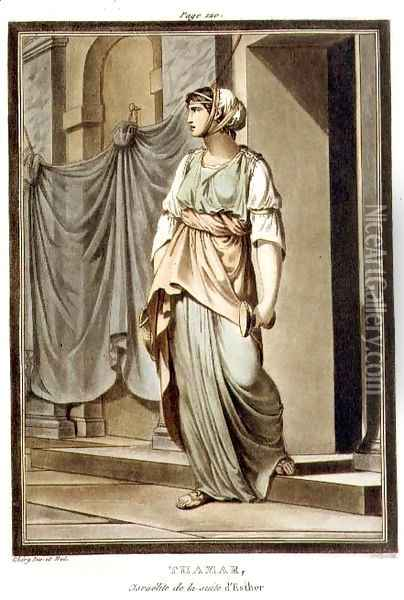 Thamar, an Israelite in the Retinue of Esther, costume for 'Esther', from Volume I of 'Research on the Costumes and Theatre of All Nations', 1802 Oil Painting - Philippe Chery