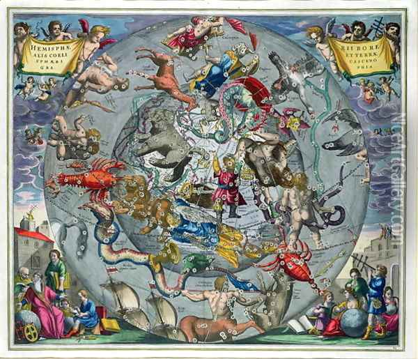 Map of the Constellations of the Northern Hemisphere, from 'The Celestial Atlas, or The Harmony of the Universe' Oil Painting - Andreas Cellarius