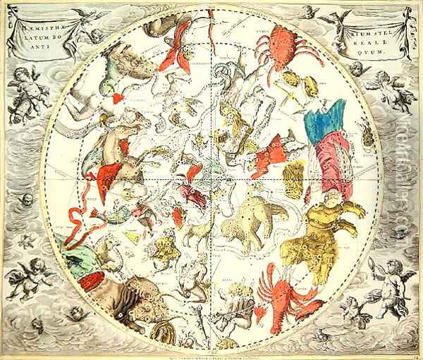 Celestial Planisphere Showing the Signs of the Zodiac, from 'The Celestial Atlas, or The Harmony of the Universe' Oil Painting - Andreas Cellarius