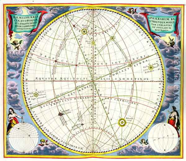 Map Charting the Movement of the Earth and Planets, from 'The Celestial Atlas, or The Harmony of the Universe' Oil Painting - Andreas Cellarius