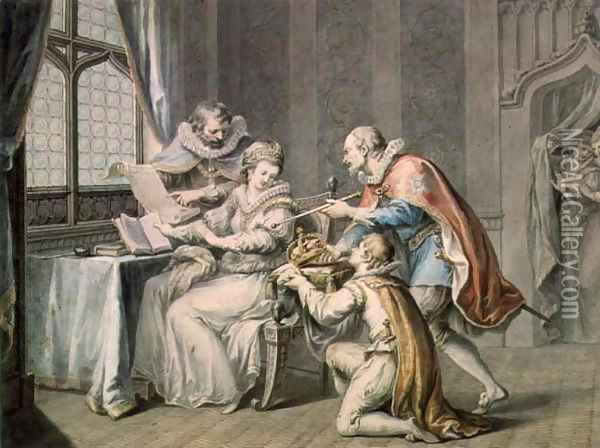 The Dukes of Northumberland and Suffolk praying Lady Jane Grey to accept the Crown Oil Painting - Giovanni Battista Cipriani