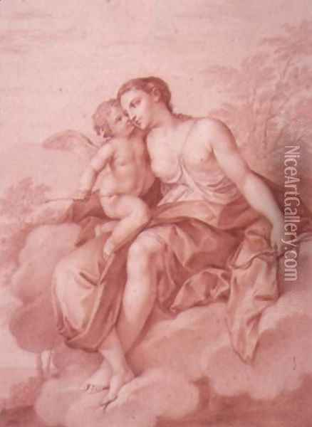 Venus Reclining on a Cloud, Embracing Cupid Oil Painting - Giovanni Battista Cipriani
