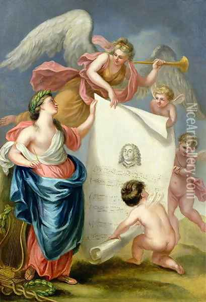 Allegorical study for a memorial print of Handel Oil Painting - Giovanni Battista Cipriani