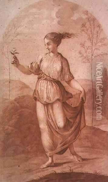 A Young Woman walking bare-footed in a Landscape Oil Painting - Giovanni Battista Cipriani