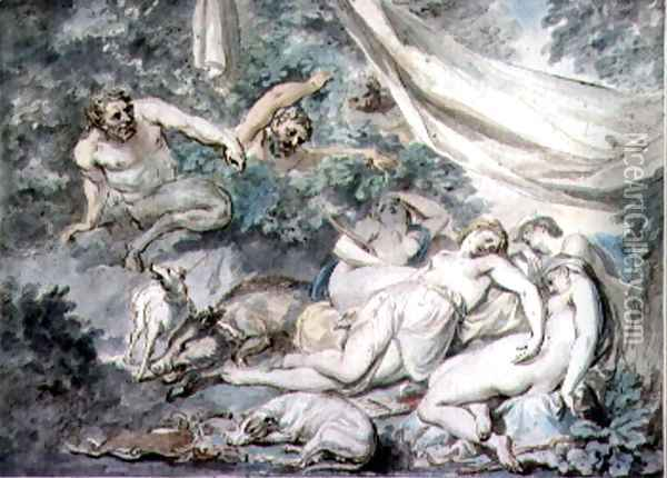 Nymphs Surprised by Satyrs Oil Painting - Giovanni Battista Cipriani