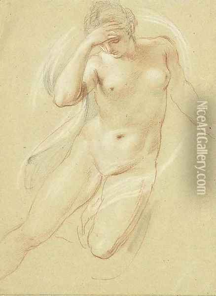 A female nude, three-quarter-length, looking down Oil Painting - Giovanni Battista Cipriani