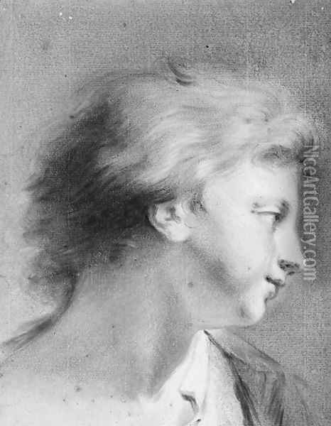 Portrait of a boy in profile to the right Oil Painting - Giovanni Battista Cipriani