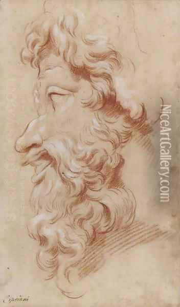 Study of the profile of a bearded God Oil Painting - Giovanni Battista Cipriani