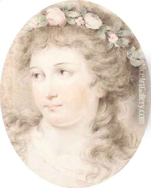 Head of a girl crowned with flowers Oil Painting - Giovanni Battista Cipriani