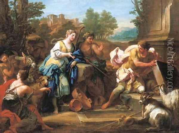Jacob and Rachel at the well Oil Painting - Sebastiano Conca