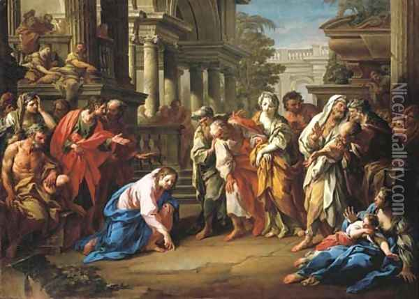Christ and the Woman taken in Adultery ('Let he who is without sin cast the first stone') Oil Painting - Sebastiano Conca